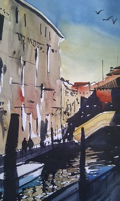 Canal Bridge San Marco district in Venice #watercolor #venice #painting