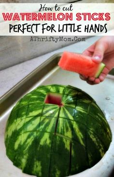 Watermelon Sticks ~ Perfect for Little Hands http://diyhomesweethome.com/watermelon-sticks-perfect-for-little-hands/