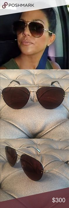 Celine brown aviators Brand new Celine Aviators CL 41391/S J5G LC 60. Luxury elegance and class defines this eye wear. Brown lens with gold hardware with Tortoise tips. Silicone nose pads. Glasses only no case. Celine Accessories Sunglasses