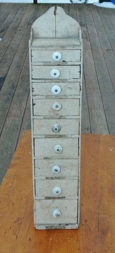 Primitive Wooden Spice Cabinet Or Seed Box With 9 Drawers * 26 Inches Tall