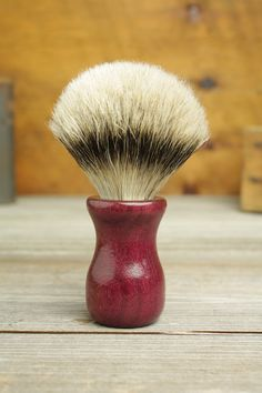 Purpleheart Truncheon style shaving brush with Silvertip Badger by Bare Knuckle Barbery