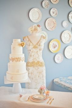 Claire Pettibone Windsor Rose Collection feat. in @Style Me Pretty - CP 'Deauville' gown - Plate Design: @Kathy {The Vintage Table Co.} - Wedding Cake: Superfine Bakery - Photo: Natalyia Studios