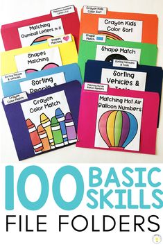 Using Basic Skill File Folders to Build Independence (with FREE Errorless File Folders) Need ideas to work on basic concepts for your toddler, preschooler, or [. Special Education Activities, Preschool Learning Activities, Special Education Classroom, Classroom Activities, Special Education Organization, Preschool Speech Therapy, Life Skills Classroom, File Folder Activities, File Folder Games