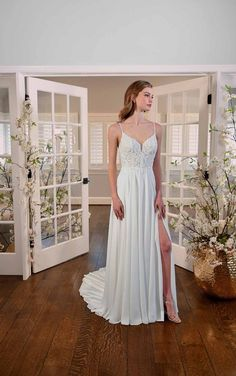 SIMPLE WEDDING GOWN WITH BEADED BACK DETAIL Slit Wedding Dress, Simple Wedding Gowns, Simple Weddings, Wedding Ideas, Chiffon Skirt, Chiffon Fabric, Essense Of Australia Wedding Dresses, Formal Wear, Formal Dresses
