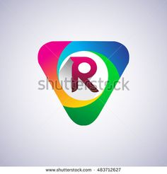 logo R letter, colorful icon in the triangle shape, Vector design template…