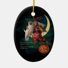 Vintage Halloween Owl and Witch Ornament Halloween Moon, Halloween Ornaments, Halloween Home Decor, Halloween House, Halloween Decorations, Vintage Witch, Vintage Halloween, Halloween Patterns, Postcard Design