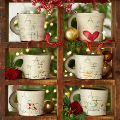 Our 'Cup of Sentiment' handmade clay mugs are sure to warm your heart and hands. I Love Sundance! Clay Mugs, Ceramic Mugs, Holiday Gifts, Holiday Decor, All Holidays, Ceramic Planters, Inspirational Gifts, Pottery, Hand Painted