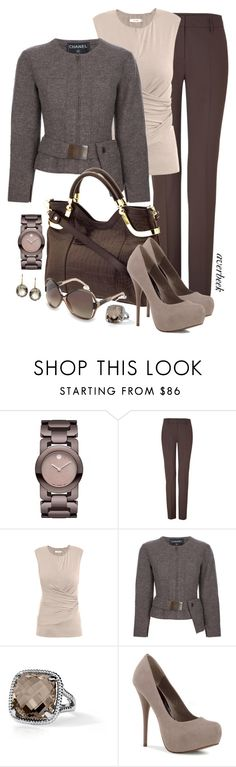 """""""Crazy For Chocolate"""" by averbeek ❤ liked on Polyvore featuring Movado, Piazza Sempione, MaxMara, Chanel, Milly, Balenciaga, Blue Nile and Marie Hélène de Taillac"""
