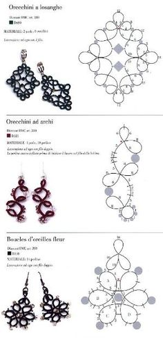 Earrings tatting pattern by Collien Kaseberg