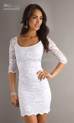 Wholesale Hot Sale Sleeve Square Lace Simple Sexy Modest Short inexpensive White Evening Cocktail Dresses 2013, $82.88-89.6/Piece | DHgate