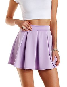 Box Pleated Skater Skirt: Charlotte Russe #skirt