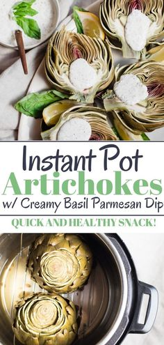 Simply steamed artichokes made quick and easy in the Instant Pot or any pressure cooker. Ideal as a healthy appetizer side dish or snack paired with a healthy and delicious parmesan basil dip! Healthy Dips, Healthy Appetizers, Healthy Meal Prep, Appetizer Recipes, Healthy Summer, Basil Recipes, Real Food Recipes, Vegetarian Recipes, Healthy Recipes