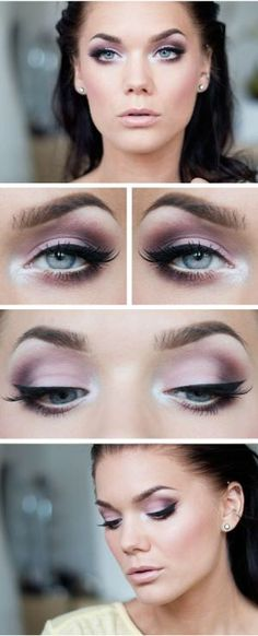 All colours used in this  one totally complement each other, from eyes to cheeks to lips. I love the extra high lighting around the inner eye. Beautiful.