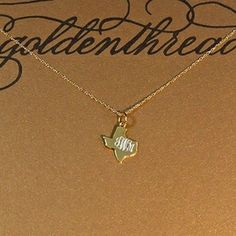 Golden Thread Gold Texas Initial Necklace, Personalized Texas Necklace