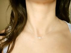 Sideways Cross Necklace Mini Tiny  Sterling Silver  by Beazuness, $24.00