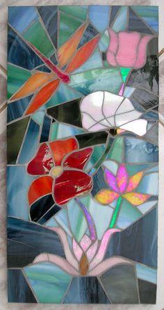 Mosaic.  Dragonfly in the Garden