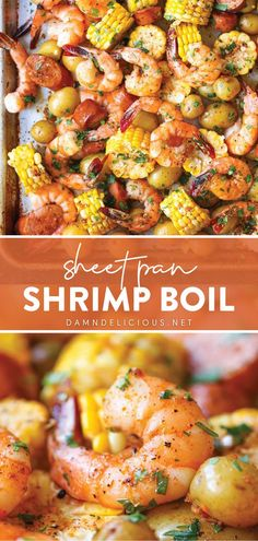 There is so much to love about this main dish for dinner that comes on a sheet pan! Combined with sausage, potatoes, and corn all in one pan, this shrimp boil recipe is delicious. Plus, it is the easiest ever — mess-free and no clean-up! Perfect for busy weeknight meals! Pork Recipes, Seafood Recipes, Cooking Recipes, Yummy Recipes, Tasty Shrimp Recipes, Yummy Food, Healthy Food, Healthy Recipes, Chicken