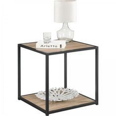 Modern-End-Table-Side-Coffee-Metal-Square-Home-Office-Top-Grain-Stand-Furniture