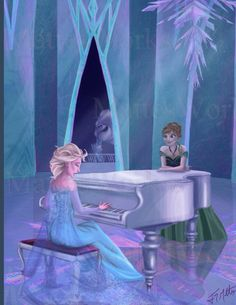 Elsa singing and playing Let It Go on the piano for Anna.