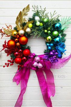 Rainbow Christmas New Years wreath, by Wild Ginger Kids, DIY