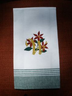 Christmas Poinsettia Embroidered Towel  Custom by LynnsCozyQuilts, $8.99