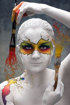 Lovely and colorful body art, face and body painting. 3d Street Art, Art Beauté, Make Up Art, Maquillage Halloween, Wow Art, Fantasy Makeup, Face Art, Face And Body, Body Painting