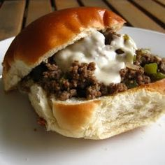 Delicious Philly Cheesesteak Sloppy Joes (a Rachel Ray recipe)! If you like sloppy Joes AND cheesesteak sandwiches, then you'll LOVE these! Toast your rolls, pile on the fixin's and dig in!