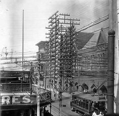 Electricity poles in Subiaco,1930