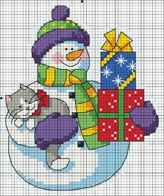 snowman, kitty, presents