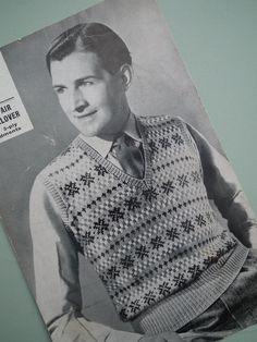 Vintage 1930s 1940s Knitting Pattern Mens Fair Isle Pullover / Vest