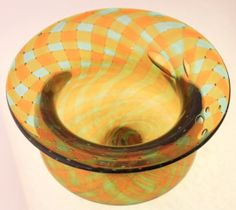 Green and Gold Reticello Bowl, Hand Blown Glass Art by Dylan Brams