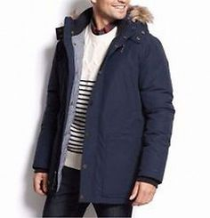 Tommy Hilfiger NEW Navy Blue Mens Size Large L Full-Zip Parka Jacket $429 143