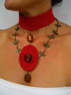 Hand Made Crochet Choker With Dragon Fly Chain by JustColor