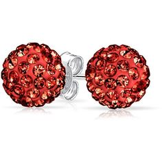 Bling Jewelry Romantic Red Studs ($9.99) ❤ liked on Polyvore featuring jewelry, earrings, ball-earrings, red, ball jewelry, studded jewelry, pave stud earrings, red jewelry and pave ball earrings