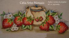 Pintura em tecido bule com morangos