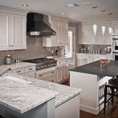 How much will it cost for River White Granite Installed Countertops? Get a Free Quote on in-stock River White Granite Countertops. White Granite Countertops, Replacing Kitchen Countertops, Kitchen Design, White Modern Kitchen, Kitchen Renovation, White Kitchen Design, Granite Countertops, Granite Kitchen, Countertops