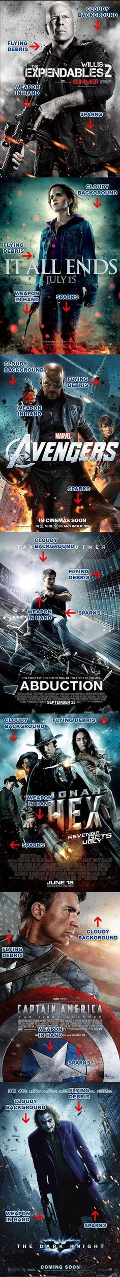 New Trend in Action Movie Poster Design: I think I need to get me some pictures like this