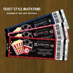 Movie Night Ticket Invitation - Movies and Popcorn Printable Birthday Invitation - Movie Ticket Style - for boys, girls or both. $10.00, via Etsy.