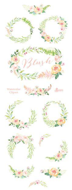 Blush. 12 kit acuarela guirnaldas y Ramos de flores durazno