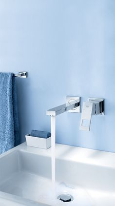 GROHE Eurocube 2-hole Wall Mounted Bathroom Faucet. #bathroom #basin #faucet #tap See more at http://www.grohe.com/us/5924/bathroom/bathroom-faucets/eurocube/