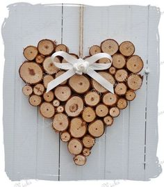 Large Rustic Log Heart Wedding Home Decoration by bynicki on Etsy, $13.50: