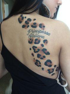 Cheetah print princess in Italian tattoo