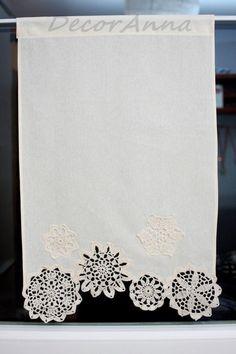 Cortina con tapetes de ganchillo cortinas cortas decoración