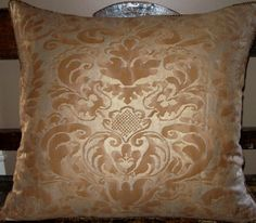 """Fortunys' 1940 - Egyptian cotton in his """"Sevigne"""" pattern, a century French design named for Madame de Sevigne Egyptian Cotton, 17th Century, Textiles, Throw Pillows, French, Pattern, Design, Fashion, Ear"""