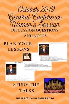LDS General Women's Session of Conference. Discussion questions and notes. Relief Society Lesson Helps, Relief Society Lessons, Relief Society Activities, Lds Conference Talks, General Conference Quotes, Visiting Teaching Handouts, Scripture Study, Lds Quotes, Play Therapy
