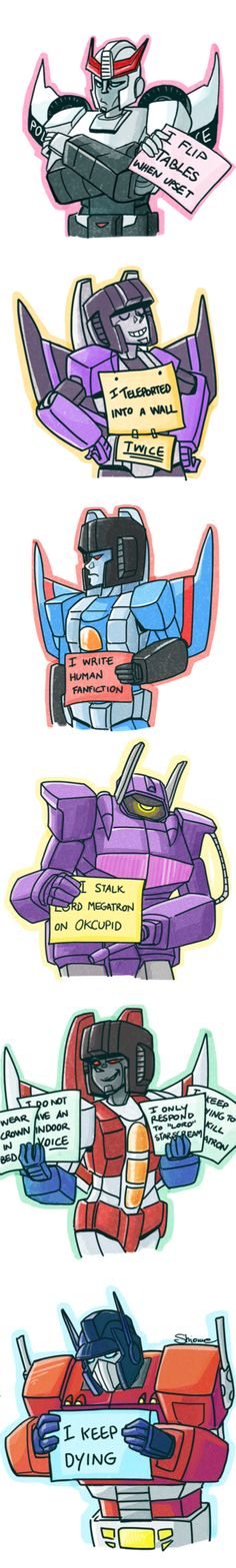 TF: robot shaming by flutterjet on deviantART>>>the last one took me by surprise. Was not expecting that at all...