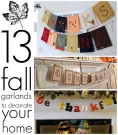 DIY Fall Garlands.                                                                                  Jamie Dorobek {C.R.A.F.T.}                                              • 5 hours ago                                                                                                   13 easy fall garlands to decorate your home! (via @thecrablog )