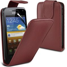 Buy Samsung Galaxy W i8150 Leather Flip Case Cover (Brown) Plus Free Gift, Screen Protector and a Stylus Pen, Order Now Best Valued Phone Case on Amazon! By FinestPhoneCases NEW for 10.99 USD | Reusell