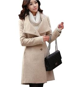 MRCL Womens Wool Blend Winter Fashion Slim Fitting SingleBreasted Coat with Belt -- Want additional info? Click on the image. (This is an affiliate link)