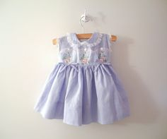 1950's Blue and White Gingham Check and White Lace